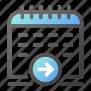 arrow, calendar, date, right, schedule icon