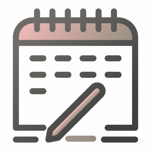 calendar, date, pencil, save, schedule, time, write icon