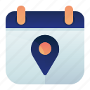 appointment, calendar, date, location icon