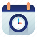 calendar, clock, date, time icon