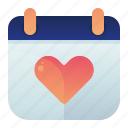 calendar, date, heart, love, time icon
