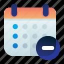 calendar, date, delete, minus, remove icon