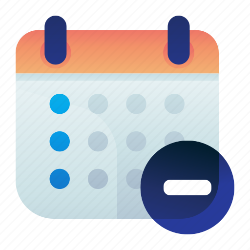 Calendar, date, delete, minus, remove icon - Download on Iconfinder
