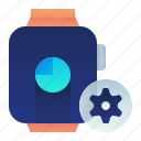 clock, options, preferences, settings, smartwatch, watch icon