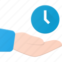 care, clock, hold, share, time icon