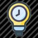bulb, idea, time, clock, watch, light, timer