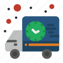 delivery, shipping, time, truck icon