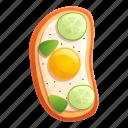 egg, food, fried, fruit, toast