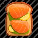 food, lemon, salmon, toast
