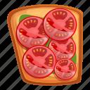 food, fruit, sliced, toast, tomato