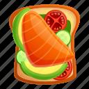 fish, food, red, summer, toast