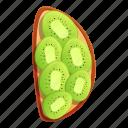 couple, food, fruit, kiwi, sliced, toast