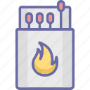 ablaze, flaming fire, ignition, matchbox icon