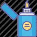cigarette lighter, fire starter, flame, lighter icon