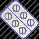 medical treatment, medication, medicine strip, pills icon