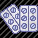medical c, medication, medicine strips, pills icon
