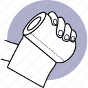toilet, paper, hand, holding, tissue, roll icon