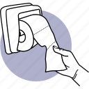 toilet, paper, hand, pulling, taking, roll, tissue icon