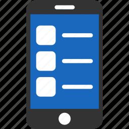 check, invoice, list, mobile, order, phone, report icon