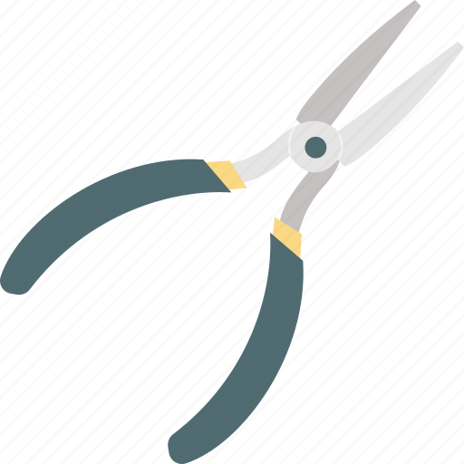 electrician equipment, needle nose plier, repairing hand tool, wire cutter, wire plier icon
