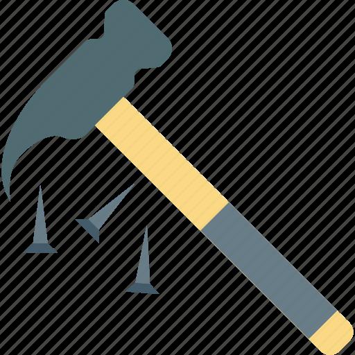 carpentering tool, construction tool, hand tool, nail hammer, rip hammer icon
