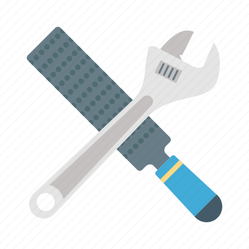 automotive tools, carpentry tools, chisel and wrench, hand tools, transportation technology icon