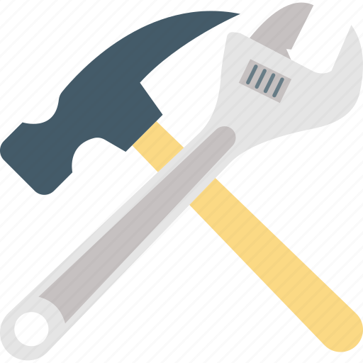 automotive equipment, garage tools, maintenance tool, plumbing hand tool, wrench with hammer icon