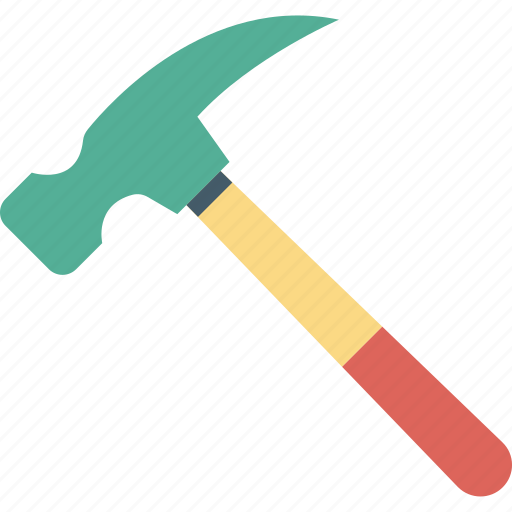 carpentering tool, claw hammer, construction tool, hand tool, rip hammer icon