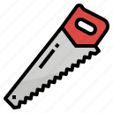 cutting, hand, saw, tool icon