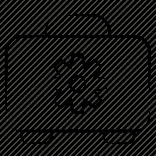 box, case, cog, construction icon