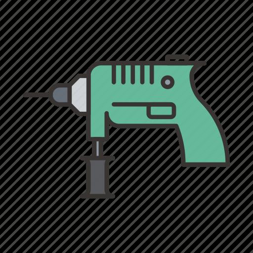 construction, drill, equipmen, machine, tool icon