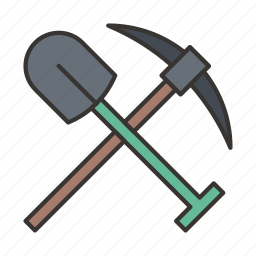 construction, equipment, kirk, pickaxe, shovel, tool icon