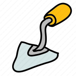 cement, construction, handwork, knife, tools icon