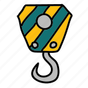 construction, crane, duty, heavy, heavyduty, hook, tools icon