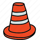 street, caution, cone, safety, road icon