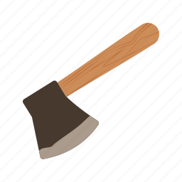 axe, cut, handle, sharp, steel, tool, wooden icon