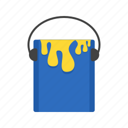 bucket, can, equipment, liquid, paint, painter, plastic icon
