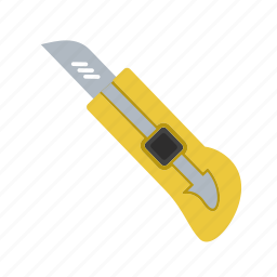 cut, cutter, knife, object, office, paper, white icon