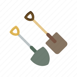 garden, gardening, ground, handle, shovel, spade, tools icon