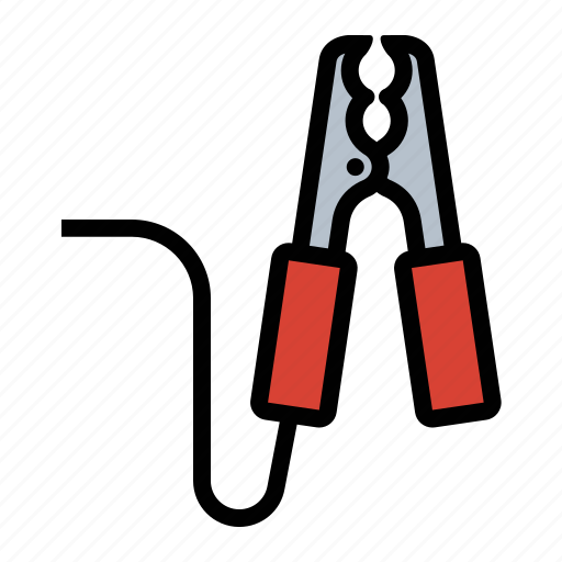 battery, cable, clamp, jumper, tools icon