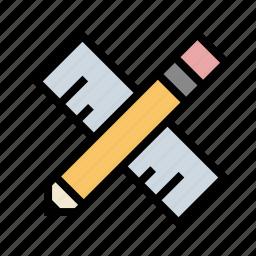 design, drafting, measure, pencil, ruler, tools icon
