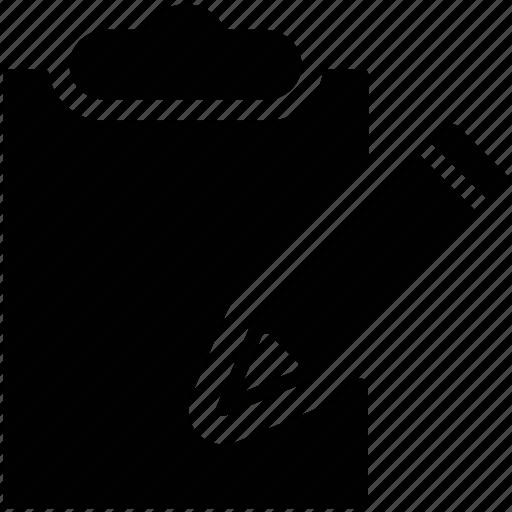 clipboard, clipboard and pencil, clipboard with pencil, edit, list, pen icon
