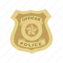 authority, badge, cop, enforcer, police, profession, shield icon