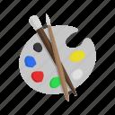 paint, color, painting kit, brush, art, palette mixer