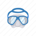 diivng, goggles, scuba diving, snorkeling, snorkeling mask icon
