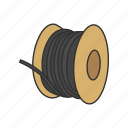 copper wire, electric wire, electrical wiring, spool wire, wire, wiring icon