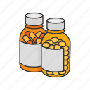 bottle, drugs, health, medication, medicine, pill bottle, pill container icon