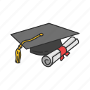 cap, degree, diploma, graduation, graduation cap, school, student icon