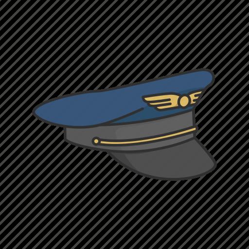 aircraft pilot, cap, hat, pilot, pilot cap, pilot uniform icon