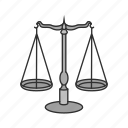 court, judicial, justice, lawyer, scale, weight icon
